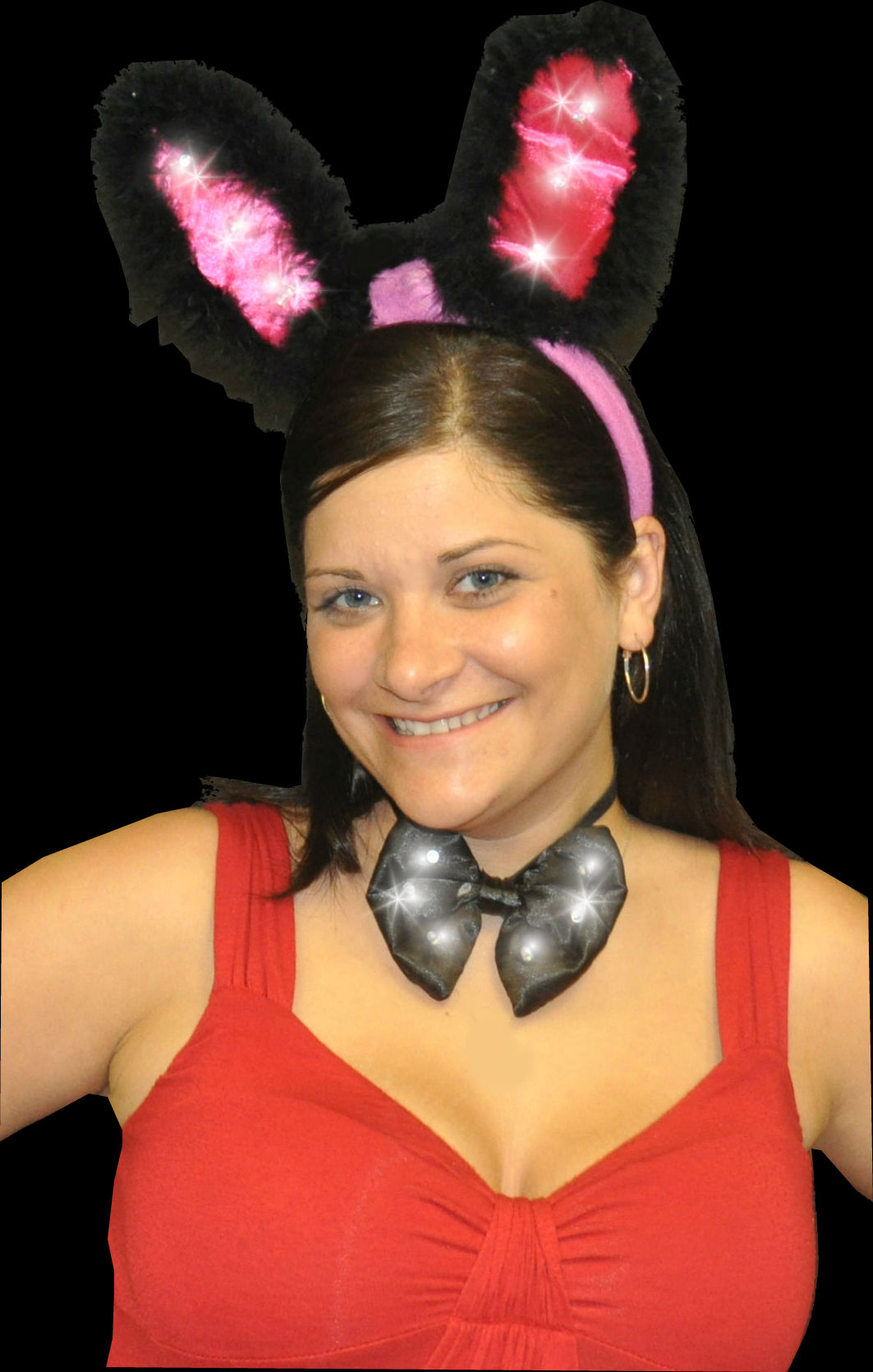 LED BUNNY EARS WITH BOW TIE (1 PIECE)
