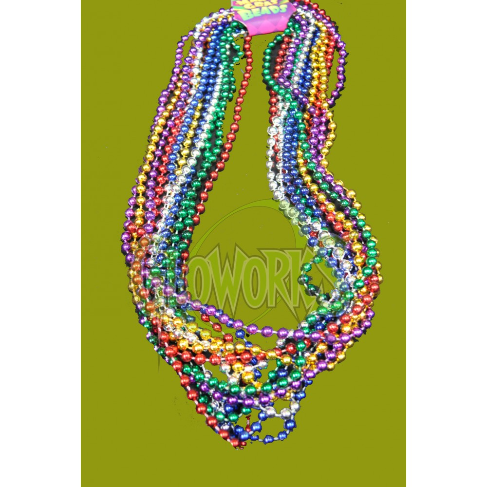 ASSORTED COLOR THROW BEADS (19 PIECES PER CARD) - Mardi Gras - HOLIDAYS