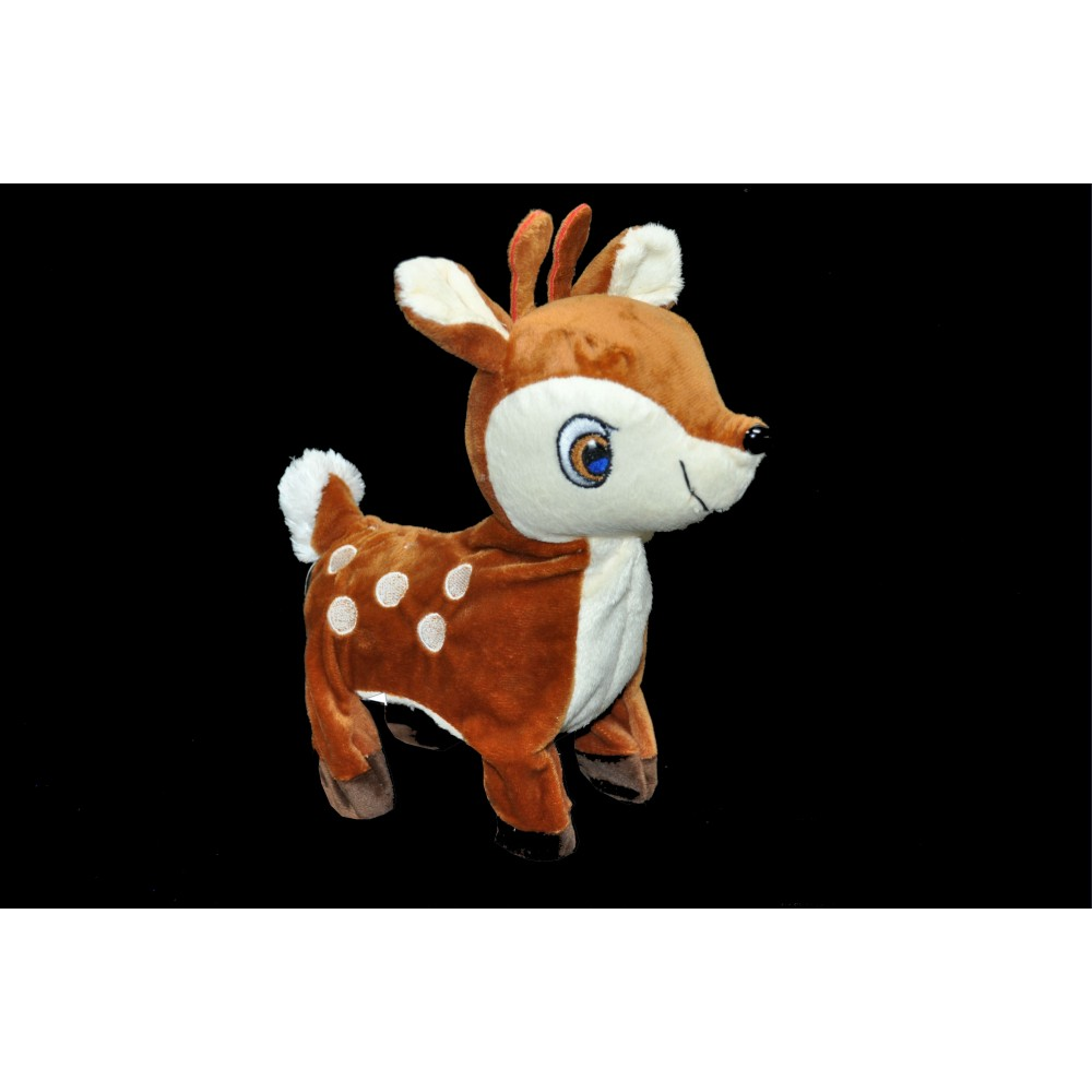 LARGE PLUSH WALKING DEER WITH LEASH AND MUSIC (1 PIECE)