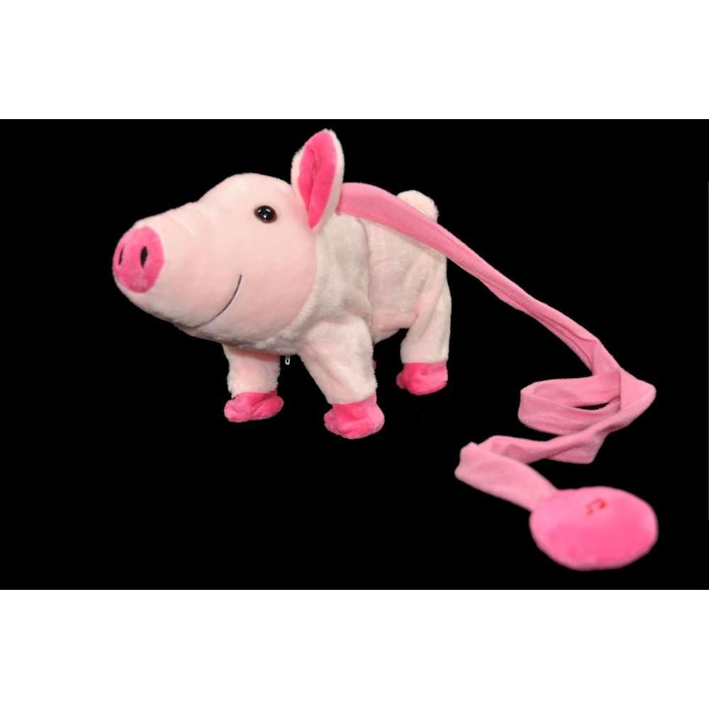 LARGE DANCING PLUSH PIGGY WITH LEASH AND  MUSIC (1 PIECE)