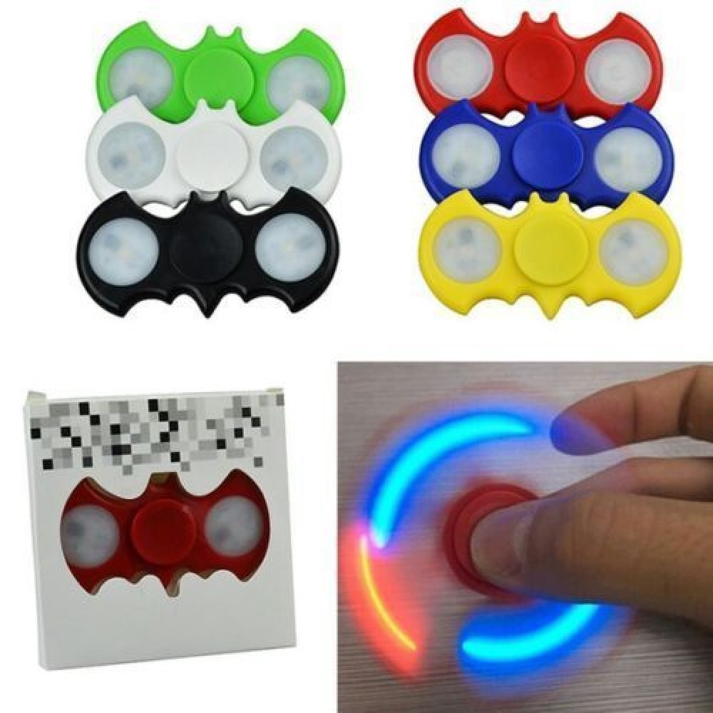 FLASHING LED BAT SHAPED FIDGET SPINNER WITH ON OFF BUTTONS  (1 PIECE)