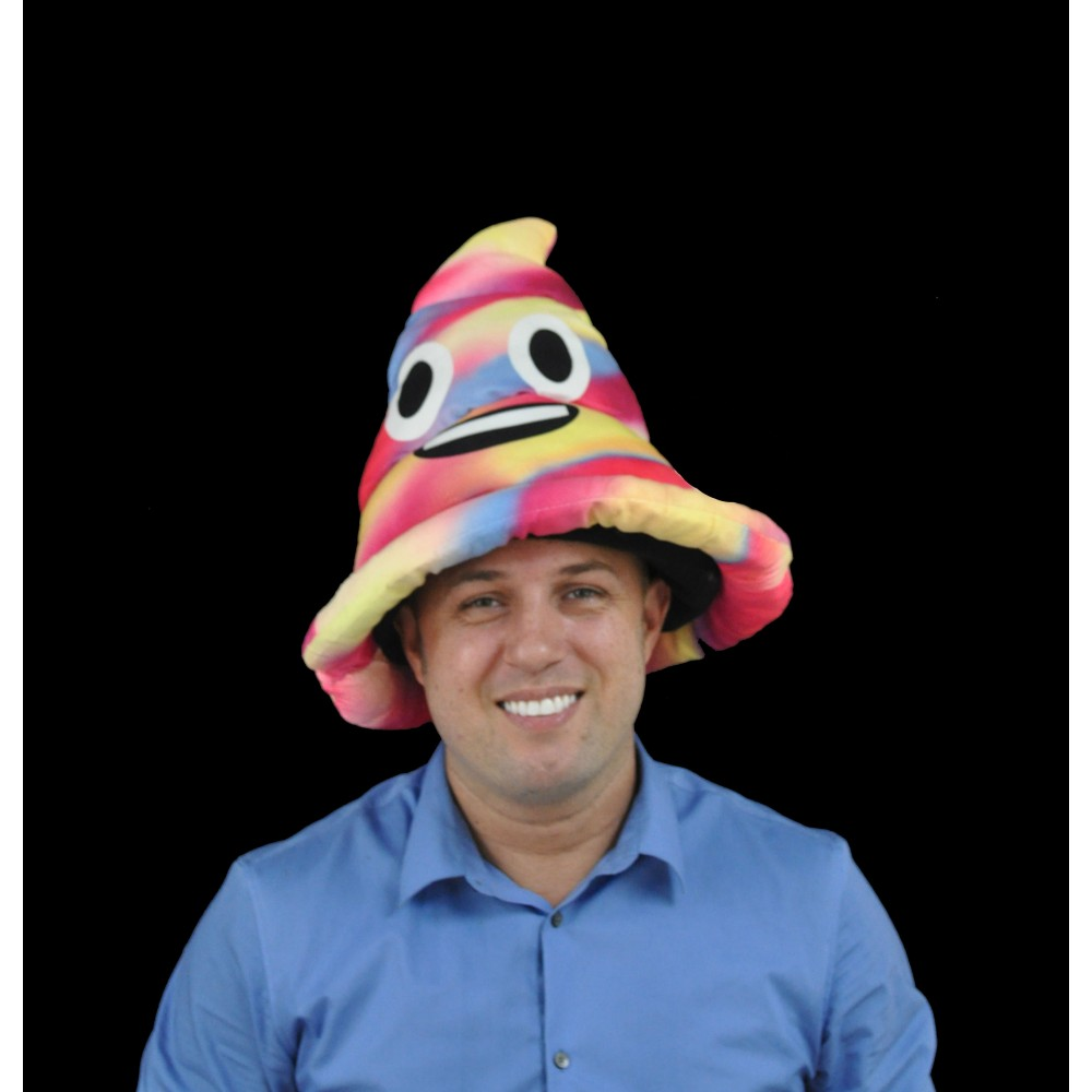 NON-FLASHING RAINBOW STYLE POOP EMOJI HAT (1 PIECE)