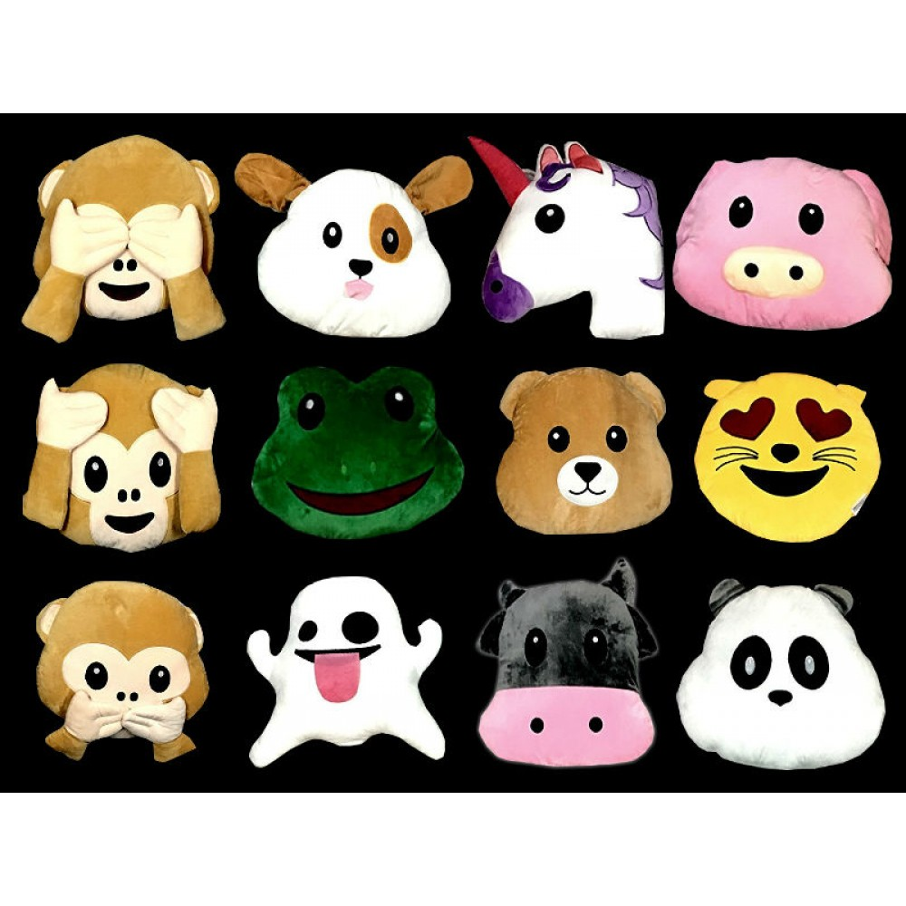 "14"" ASSORTED STYLE EMOJI PLUSH PILLOW  (1 PIECE)"