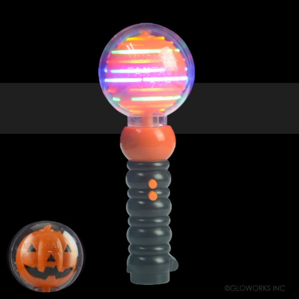 "9"" LED PUMPKIN SPINNING WAND (1 PIECE)"