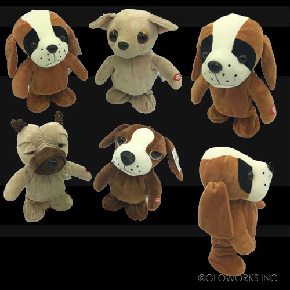 PLUSH WALKING DANCING ASSORTED STYLE DOGS WITH  MUSIC (1 PIECE)