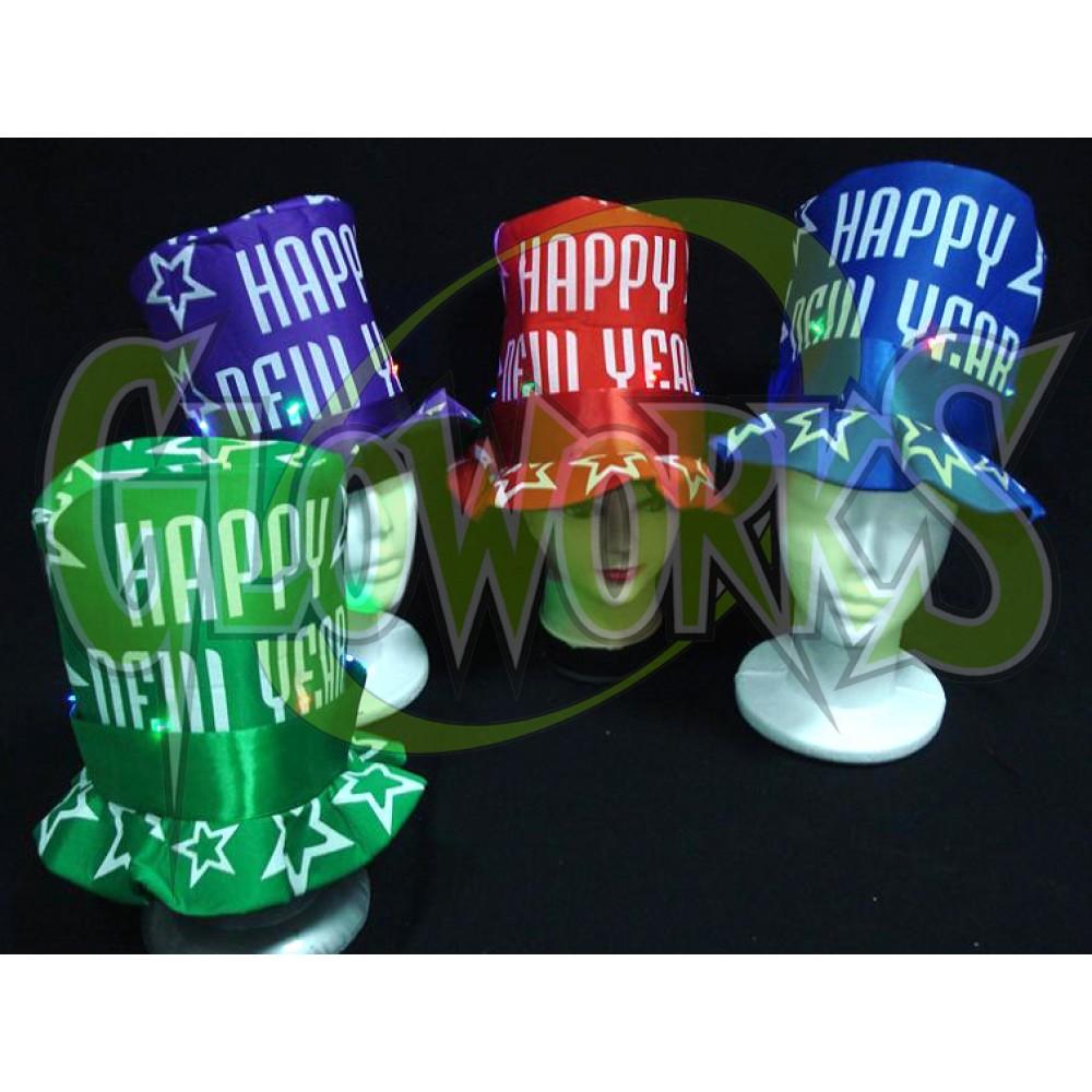 HAPPY NEW YEAR LED TOP HATS (1 DOZEN)