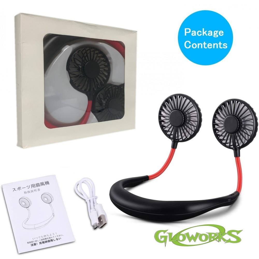 Hands Free Portable Neck Fan - Rechargeable Mini USB Personal Fan