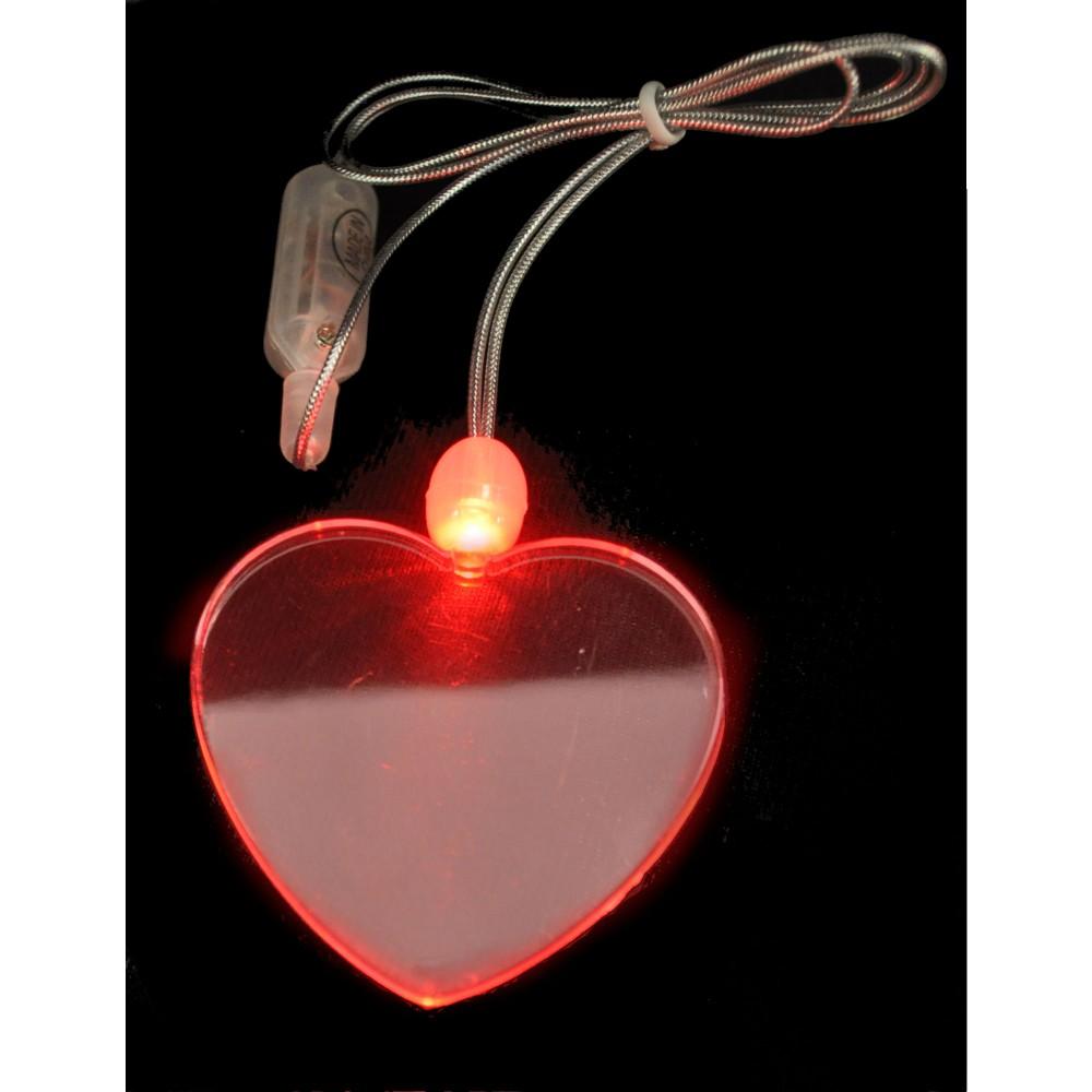 LED ACRYLIC HEART CHARM ON NON FLASHING LANYARD (1 PIECE)