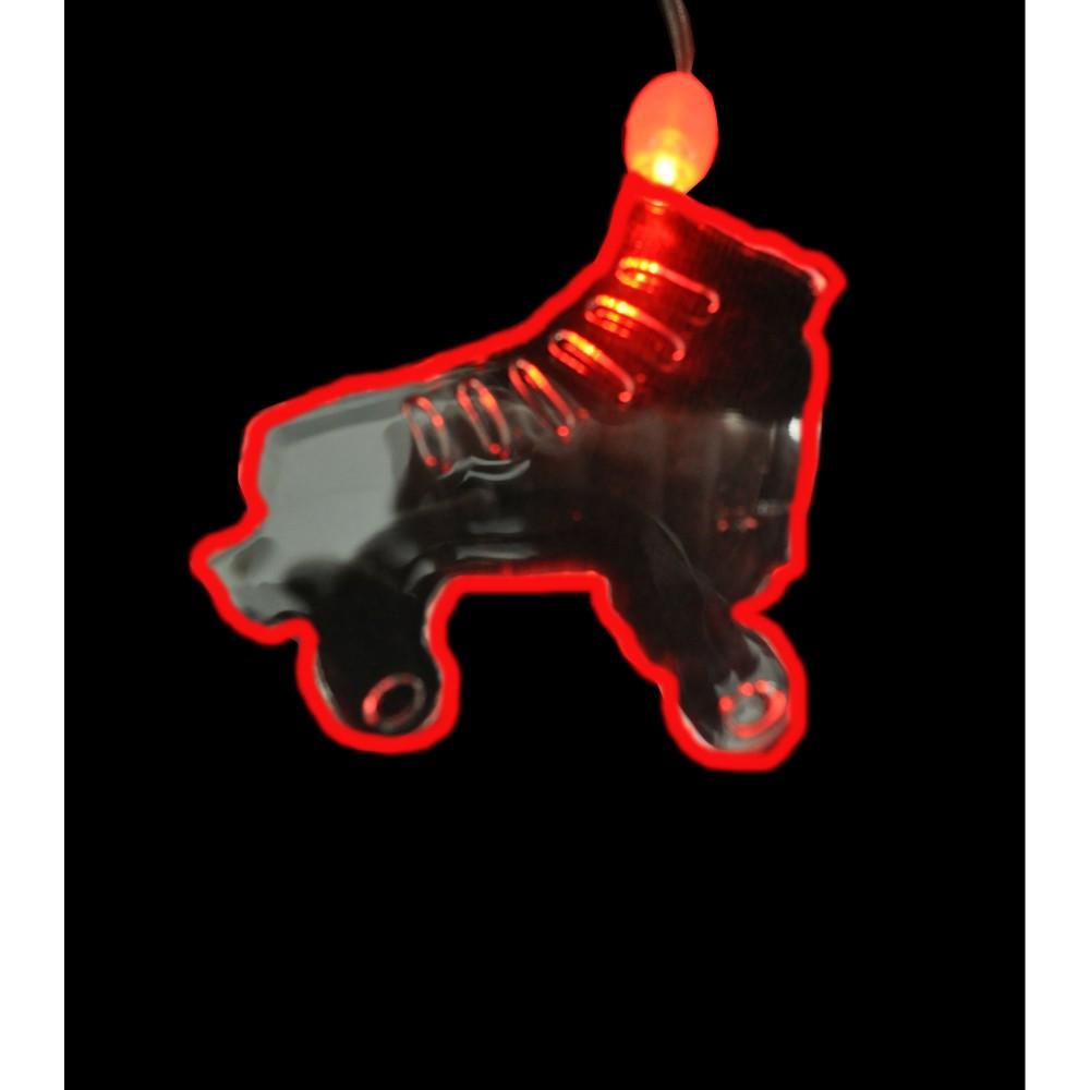 LED ACRYLIC ROLLERSKATE CHARM ON NON FLASHING LANYARD (1 PIECE)