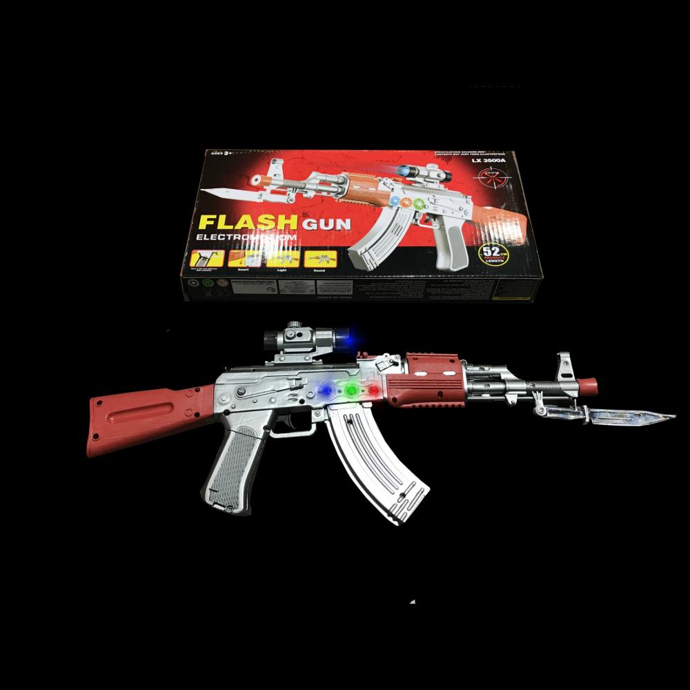 LED MACHINE STYLE PLAY GUN WITH BAYONET (1 PIECE)