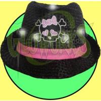 FLASHING SEQUINED FEDORA HAT - GIRL SKULL (1 PIECE)