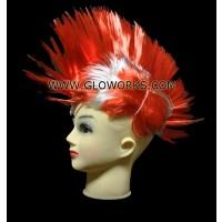 FLASHING MOHAWK WIG - RED/GREY (1 PIECE)