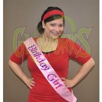 """Birthday Girl"" Flashing Pink Sash (1 PIECE)"